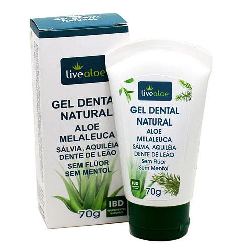 Gel Dental Natural Aloe Melaleuca (Sem Flúor) 70g - Live Aloe